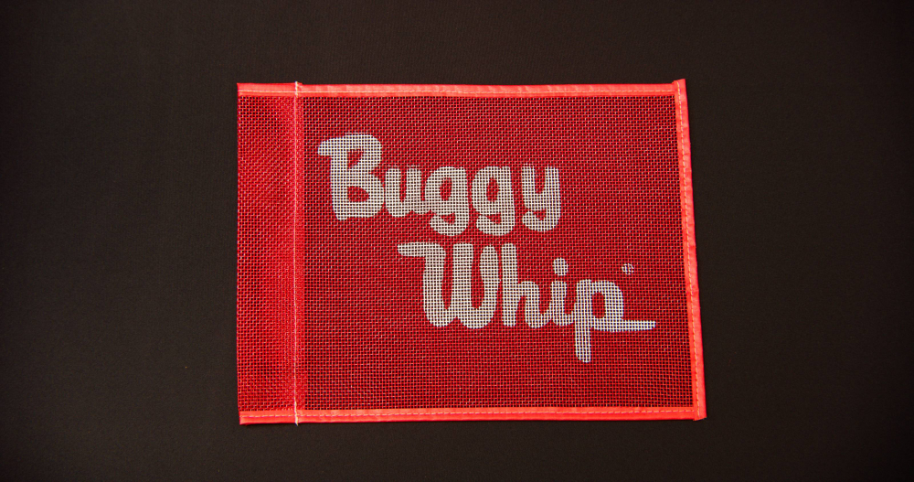 """10""""X12"""" RED MESH FLAG PRINTED W/ BUGGY WHIP LOGO"""