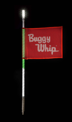 Buggy Whip® Green White & Red LED Whips with Lighted Top Option